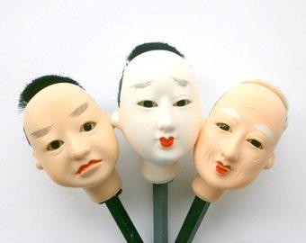 Japanese Doll Head Man's Head Hina Matsuri Man Body Part #D Set of 3 Small Size