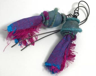 Aqua Blue Recycled Glass Beads with Wooly Wire and  Blue and fuchsia Sari Silk, Earrings, Handmade Ear Wires Woolywire