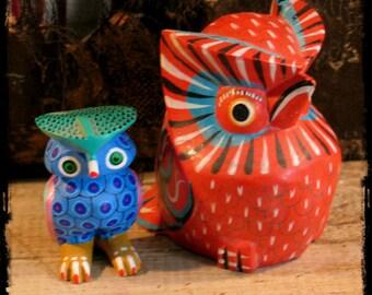 Owl Folk Art, carved wood owls
