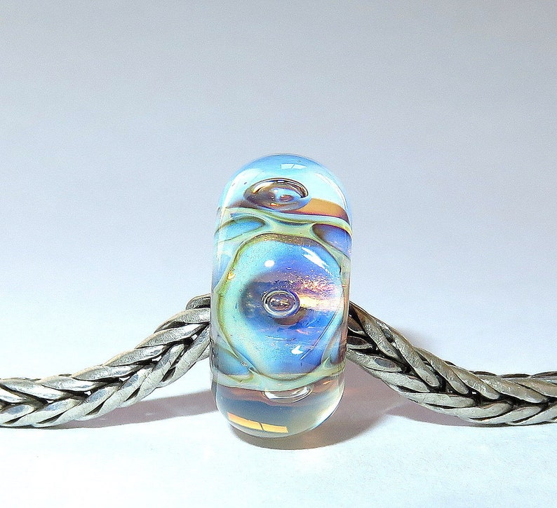 Universal Core Luccicare Lampwork Bead Lined with Sterling Silver Bubbles