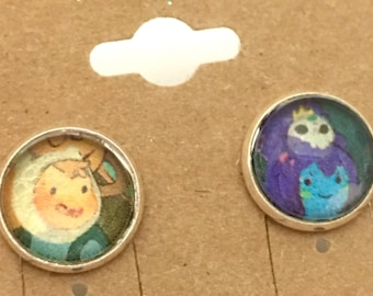 Recycled Comic Book Adventure Time inspired Earrings Finn Princess
