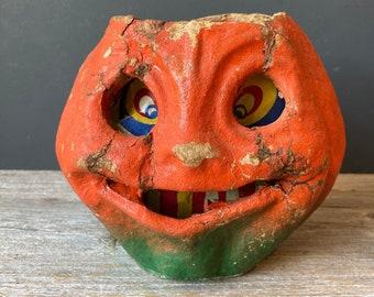 "Vintage Halloween Jack O'Lantern - Original Insert Pulp Paper Lantern - 5"" Pumpkin"