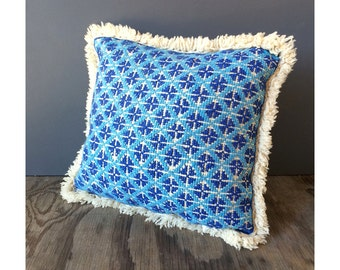 Scandinavian Throw Pillow - Blue and Cream Geometric Pattern - Hand Loomed
