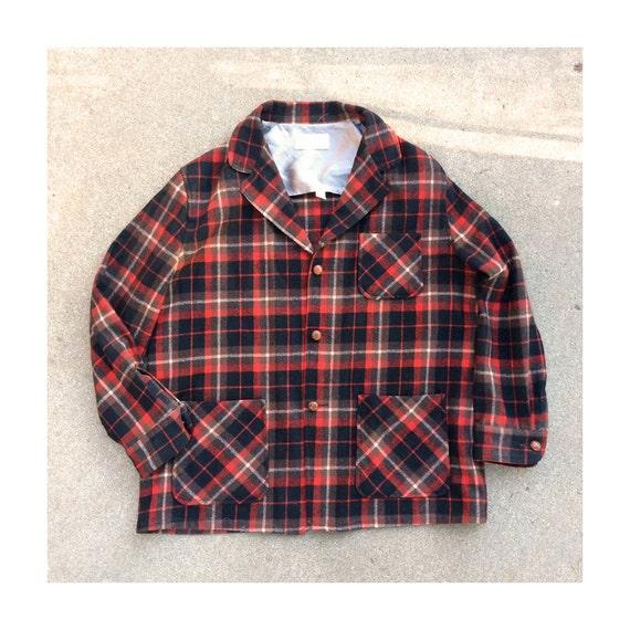 1940's Mens XL Plaid Flannel Jacket - Western Star