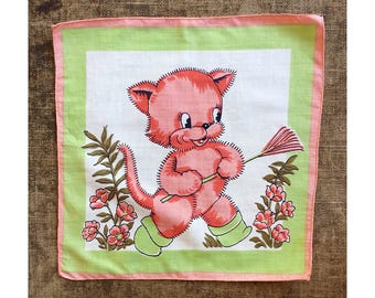 1950's Child's Hankey - Pink Kitten