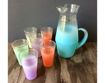 Frosted Colorful Blendo Pitcher and Glasses Set - 7 Pieces