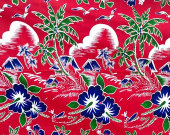 40s/ 1950s Hawaiian Print  Fabric - Cotton Red and Blue - Huts and Palm trees and Hibiscus