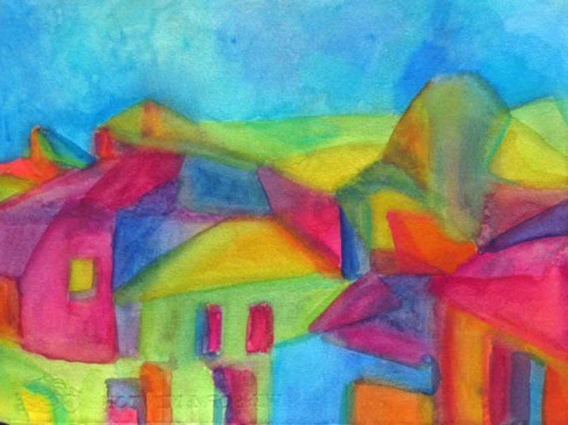 Abstract watercolor Italy bold bright colors travel image 0