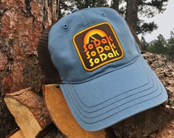 South Dakota SoDak Trucker Hat - South Dakota Cap - SoDak Hat - SoDak Retro Snapback - Blue/Brown Camping Vintage Style Cap -Oh Geez! Design