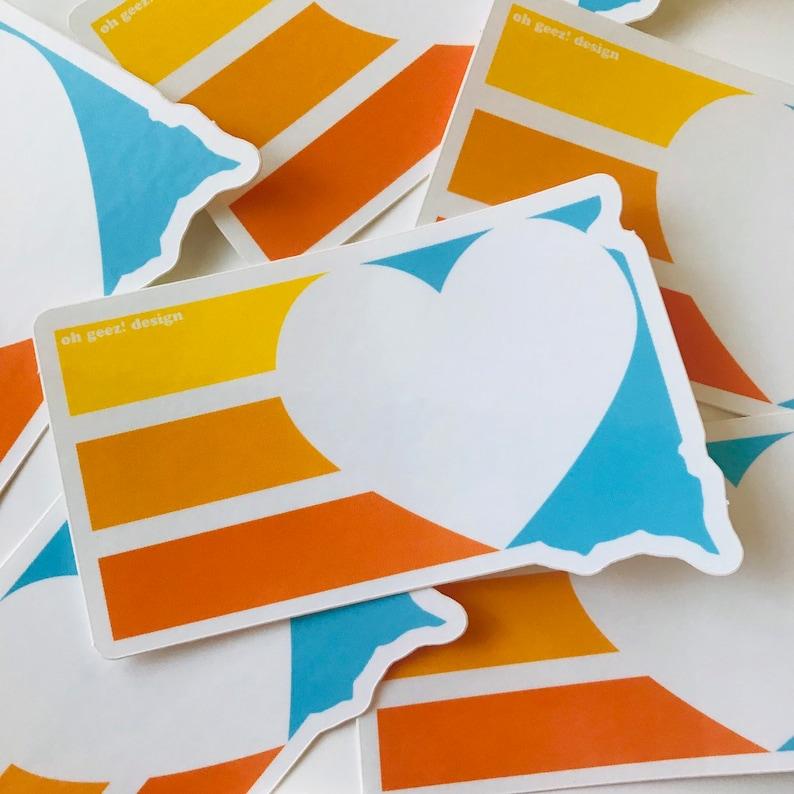 South Dakota Heart Sticker  Retro South Dakota Decal  South image 0