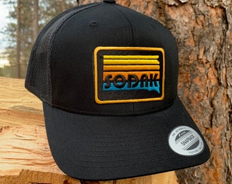 SoDak Sunset Black Trucker Cap - South Dakota Sunset Patch Black Snapback Baseball Cap - Unisex Trucker South Dakota Hat by Oh Geez! Design