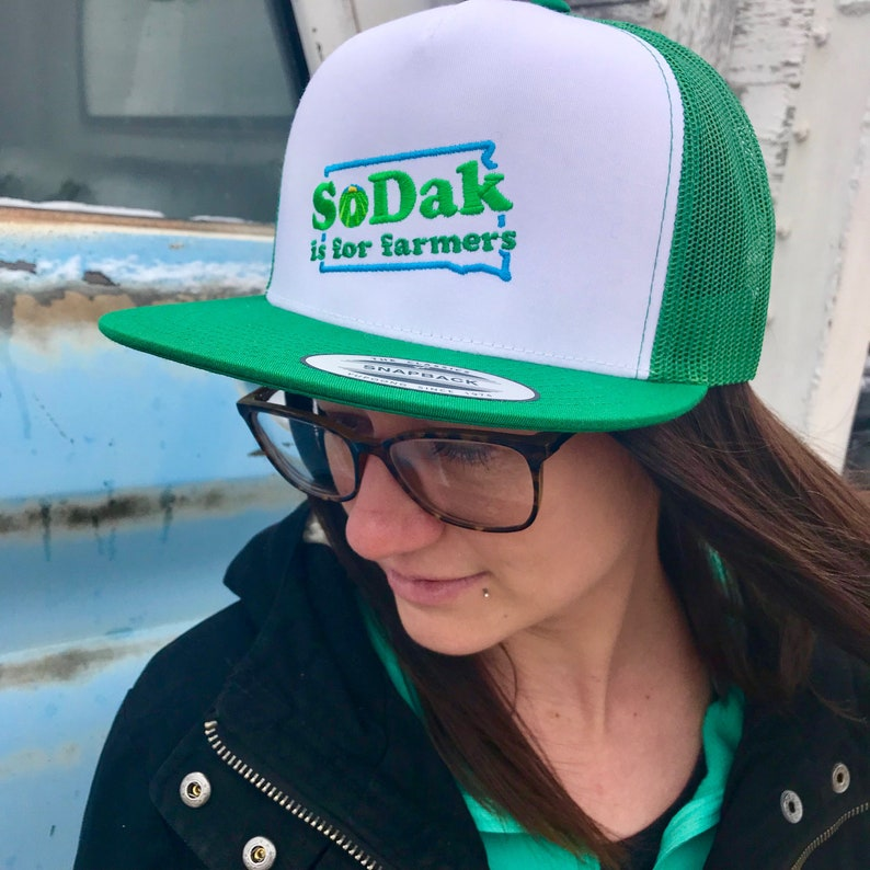 SoDak is for Farmers Green and White Embroidered Flatbill Cap image 0