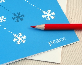 Christmas Cards - Peace & Snowflakes Holiday Card Set of 4 by Oh Geez Design