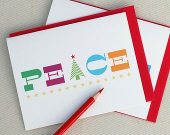 Holiday Greeting Card Set - Peace Bright Christmas Cards Set of 6