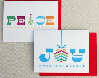 Christmas Cards - Holiday Cards Set - Joy & Peace Bright Holiday Set of 10
