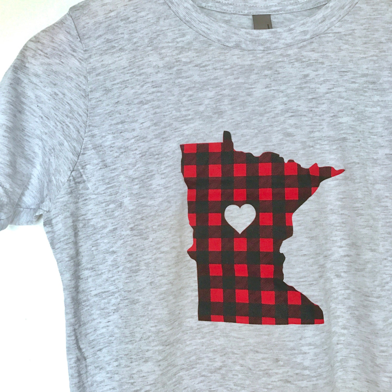 Minnesota Flannel Kids T Shirt Minnesota Love Flannel Tee Etsy