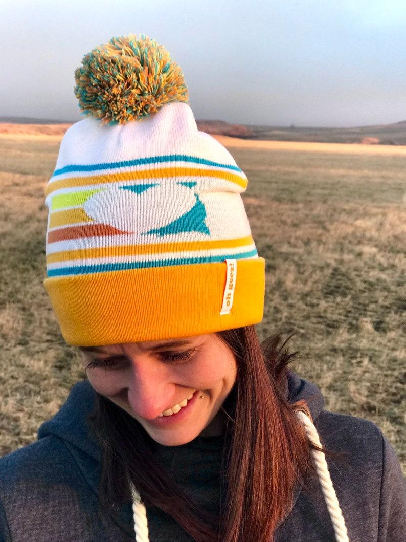 South Dakota Love Beanie  South Dakota Heart Retro Knit Pom image 0