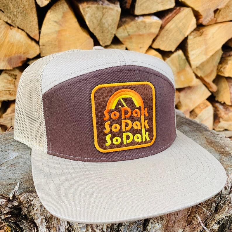 SoDak Retro Flat Bill Trucker Hat  SoDak Retro Brown Khaki image 0