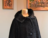 Coat Faux Persian Lamb Fur,Real Mink Collar ,Thick Lovely Satin Lining,Size 40 quot chest, Borre Styled by Sportowne , Vintage GLAM CHIC