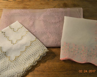 3 Lot Scarfs,2 Handkerchiefs,Scalloped edged Hankies,Flocked Pale Purple Nylon Scarf  Tag Designer Jan C,Made in Japan,Hand Rolled Edges