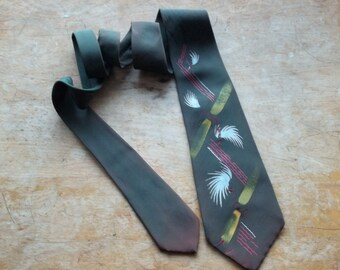 Neck Tie  California silk  Hand painted Abstract by Linde ,1950s Made in USA
