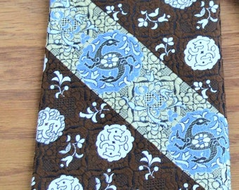 "Men's 70's Tie,Celtic Double Deer Doe Spirals Qiana Nylon Supra,BIG,Thick,Brown,Blue,White,Wide 4"" 53"" long"