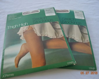 Two pair Vintage Thigh High Stockings, Size Short, New old stock,J C Penney's Sheer Toe