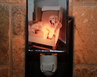 Personalized Classic  Photo Night Light- Custom Photo Nightlight-Wedding Gift-Gift For Pet Lover-New Baby Gift-Stained Glass Lamp