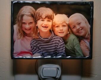 Personalized Classic  Photo Night Light, Custom Photo Nightlight, Photo Lamp, Stained Glass Lamp, New Baby Gift, New Home Gift