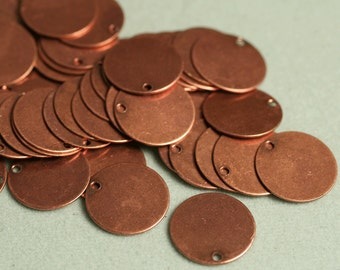 Antique Copper Round Stamping Disc Round  1 Hole  Findings 1.5  x 10 mm