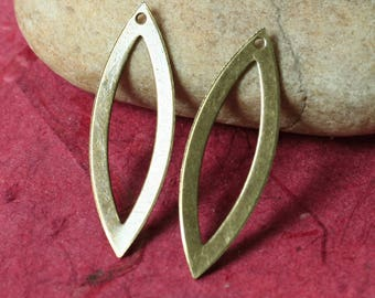 Antique brass marquise link drop dangle size 31x11mm, 2 pcs (item ID XW02110AB)