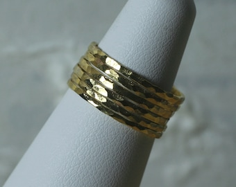 Hand hammered gold tone midi rings, knuckle rings, stack rings, stacking rings, stackable rings, 2 pcs (item ID SRGP)