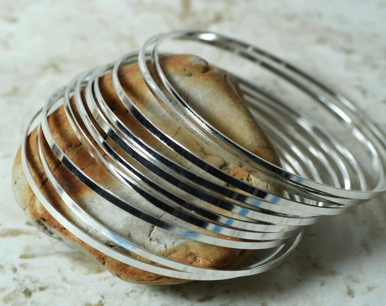 bangle set Silver plated bangle blank item ID FA00143SP medium to large size 2 pcs