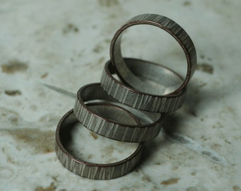 Hand hammered textured or plain surface band ring, select your size, color, surface texture and quantity (SP)