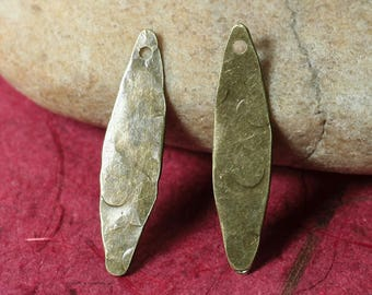 Hand hammered antique brass marquise dangle drop earring charm size 24x6mm, 4 pcs (item ID XW01824ABK))