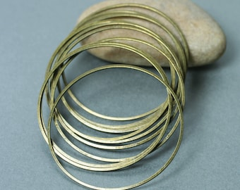Antique brass O ring dangle drop charm size 45mm outer diameter, 6 pcs (item ID FA00018AB)