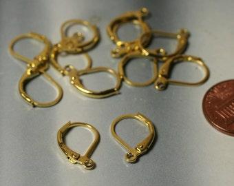 Gold tone leverback earwire 16x10mm, 12 pcs (item ID XMHB00186ABE)