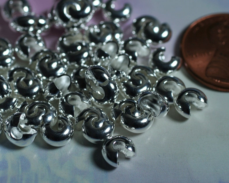 item ID F2677FY silver-plated brass 40 pcs Crimp cover 5mm