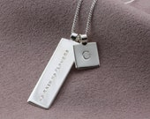 Personalised Silver Initial Charm Necklace with a mantra