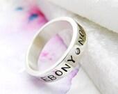 Silver Personalised Ring | Contemporary Silver Band | Alternative Wedding Band | Keepsake Ring