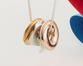 Personalised Silver, Yellow and Rose Gold Mobius Family Necklace | Unique Contemporary Personalised Jewellery | Engraved Gold Jewellery
