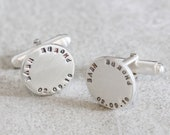Personalised Silver Disc Cufflinks | Unique Fathers day Gift | Classic Sterling Silver Cufflinks | Personalised Wedding Cufflinks |