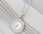 Personalised Silver Initial Medallion Necklace
