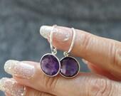 Amethyst & Silver Gemstone Earrings | Unique Hoop Earrings | Gemstone jewellery | February Birthstone Earrings |Unique Birthday Gift For Her