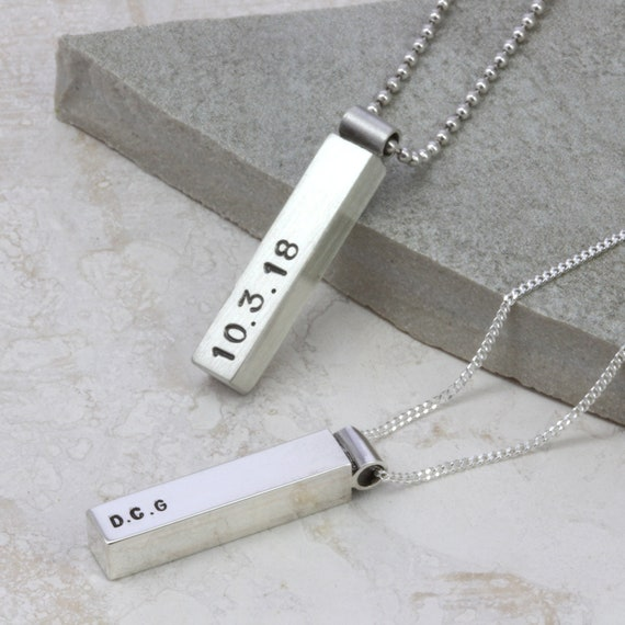 Mens Fathers Day Personalised Chunky Steel T Bar Necklace Engraved Dog Tag Gift