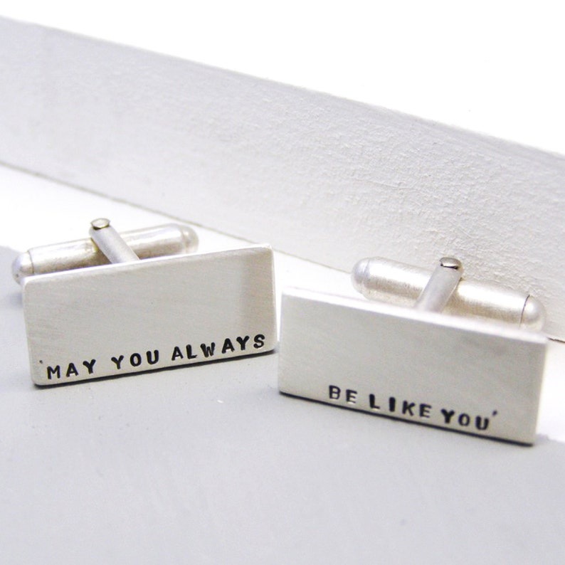 Classic Cufflinks Personalised Silver Cuff Links Bespoke Cufflinks Husband Gift Custom Cuff Links Unique Fathers Day Gift for him