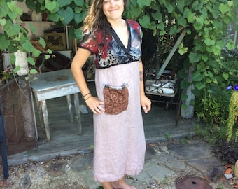 a5bf810d73 SALE   Bonjour Paris Dress Frock m m Upcycled clothing Evo-friendly Artsy-handmade  by CarLe Etc.