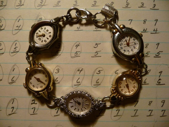 Vintage Watches For Sale >> Sale Vintage Watches Made Into A Bracelet Both Gold And Silver With And W O Crystal Beads By Carle Etc