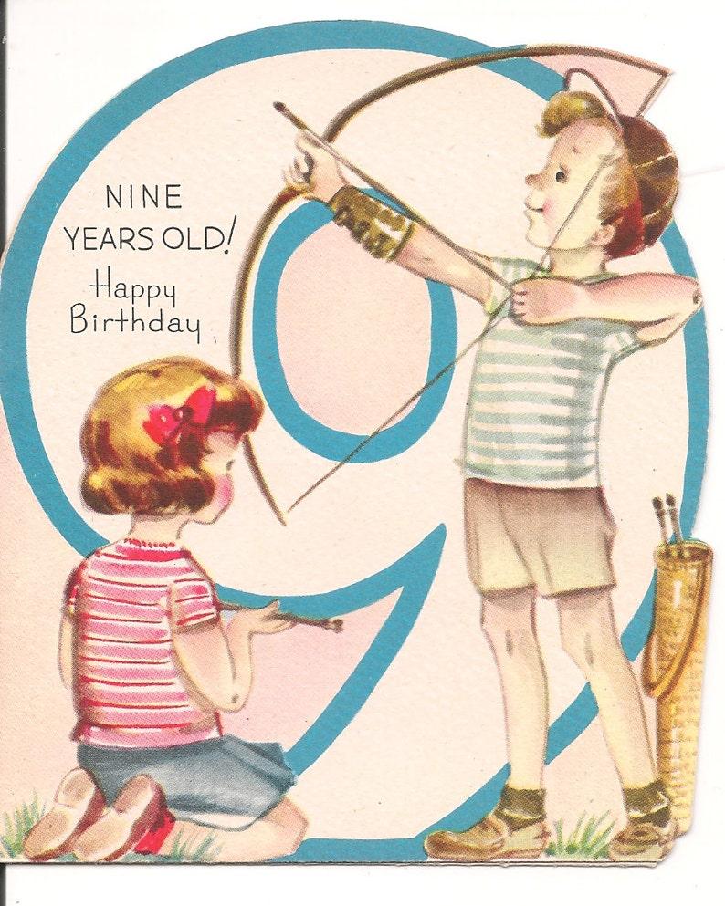 Vintage Birthday Card 1950s Nine Years Old 5 577 Archery Boy