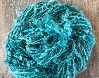 Aquamarine - Lincoln Locks, 20 yards handspun yarn, lockspun yarn, curly handspun yarn, curly art yarn